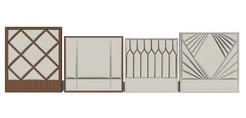 现代造型墙软包组合