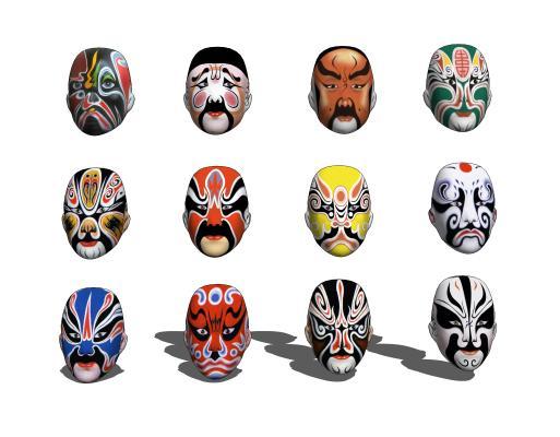 现代墙饰脸谱组合