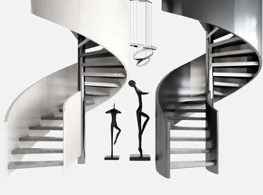 現代輕奢旋轉樓梯扶手 金屬雕塑 金屬吊燈