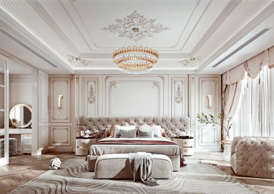法式风格主卧室 双人床 床头柜