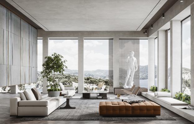 现代客厅 沙发茶几组合 植物 雕塑 单人椅
