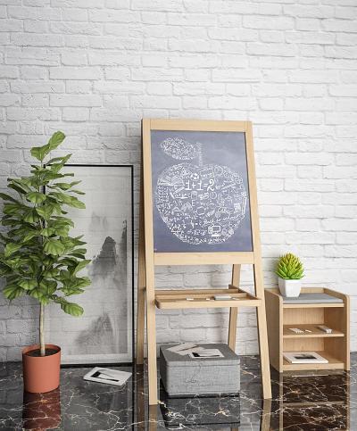 现代实木画架盆栽摆件组合