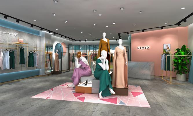 现代轻奢高端网红买手女装店3D
