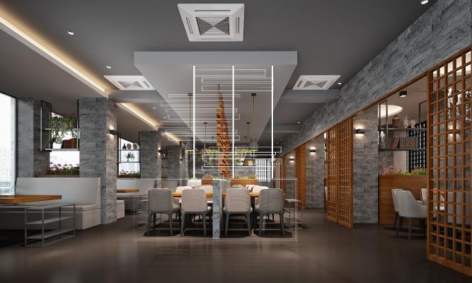 新中式火锅店 餐厅 门厅