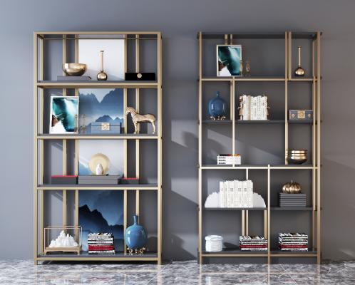 新中式金属装饰架 书柜组合
