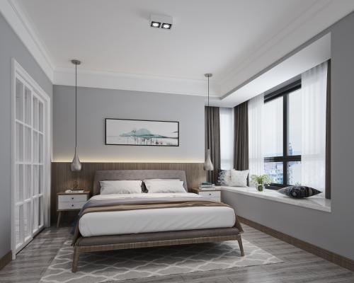 北欧卧室 床具