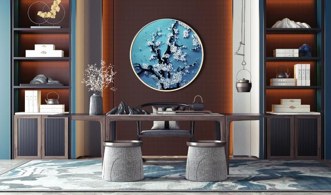 新中式茶桌椅 书柜 摆件组合 茶具 凳子