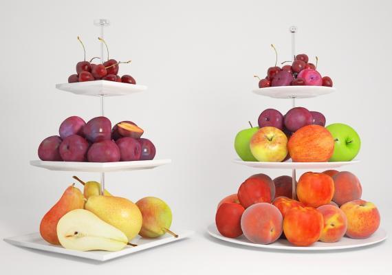 现代水果 果盘 桃子 樱桃