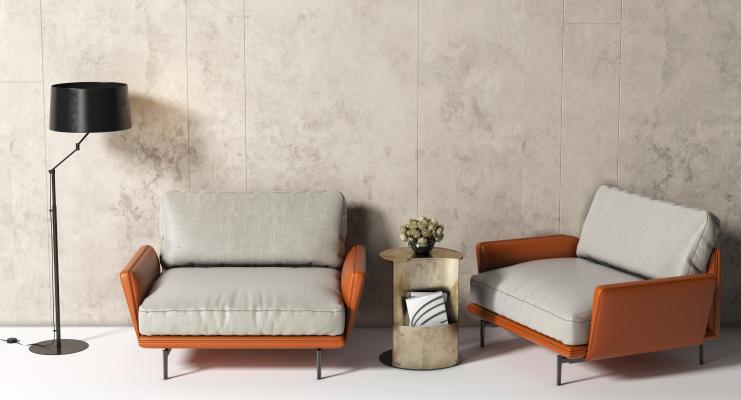 现代单人沙发 单椅 边几 洽谈椅