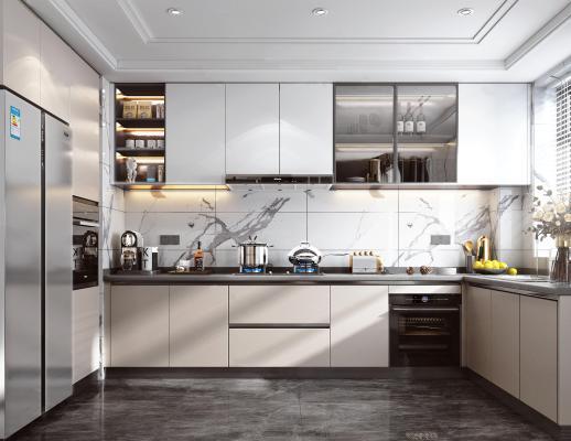 現代家居廚房 櫥柜 集成灶