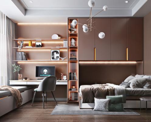现代风格卧室 书桌 书架