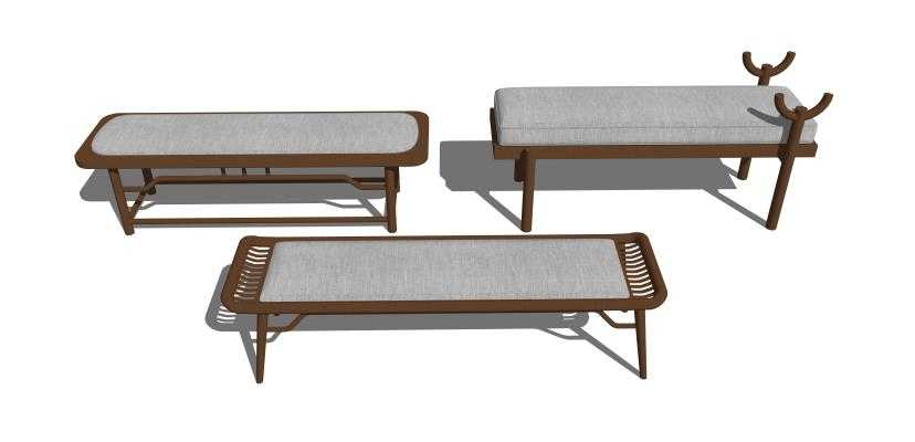 现代沙发脚踏组合