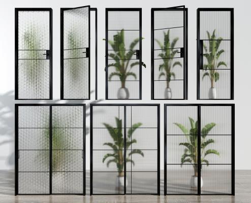 现代玻璃推拉门组合