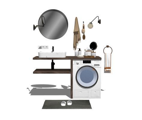 现代卫浴洗手台洗衣机摆件组合