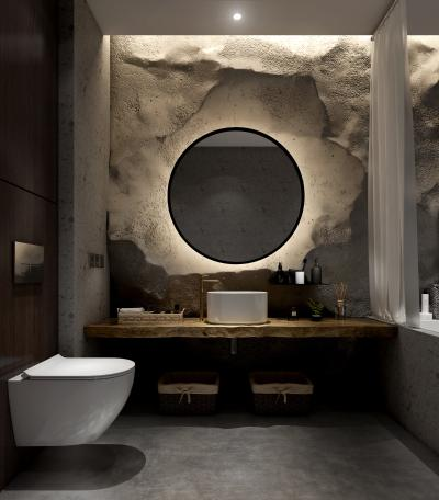 现代卫生间 石头墙面