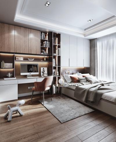 现代风格榻榻米卧室 书房 床