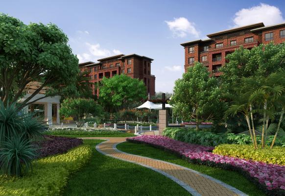 现代别墅园林景观 小区花园 景观组合 景观亭