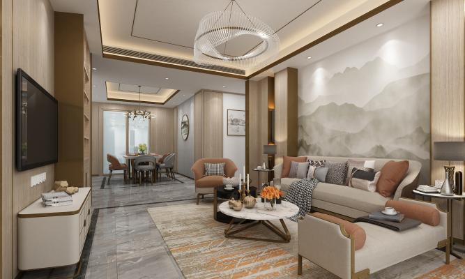 新中式家装客厅