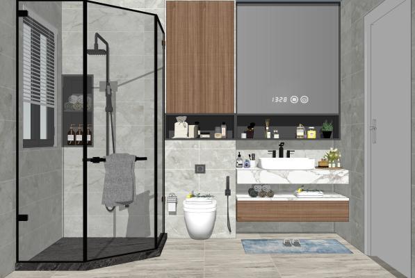 现代家居卫生间 马桶 淋浴