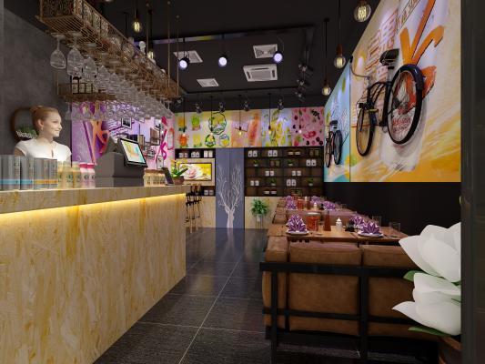 现代奶茶店 饮品店 甜品店
