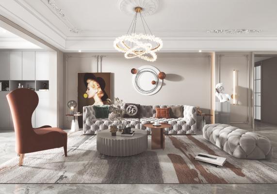 法式客厅 餐厅 沙发 餐桌 电视柜 酒柜 吊灯 装饰画