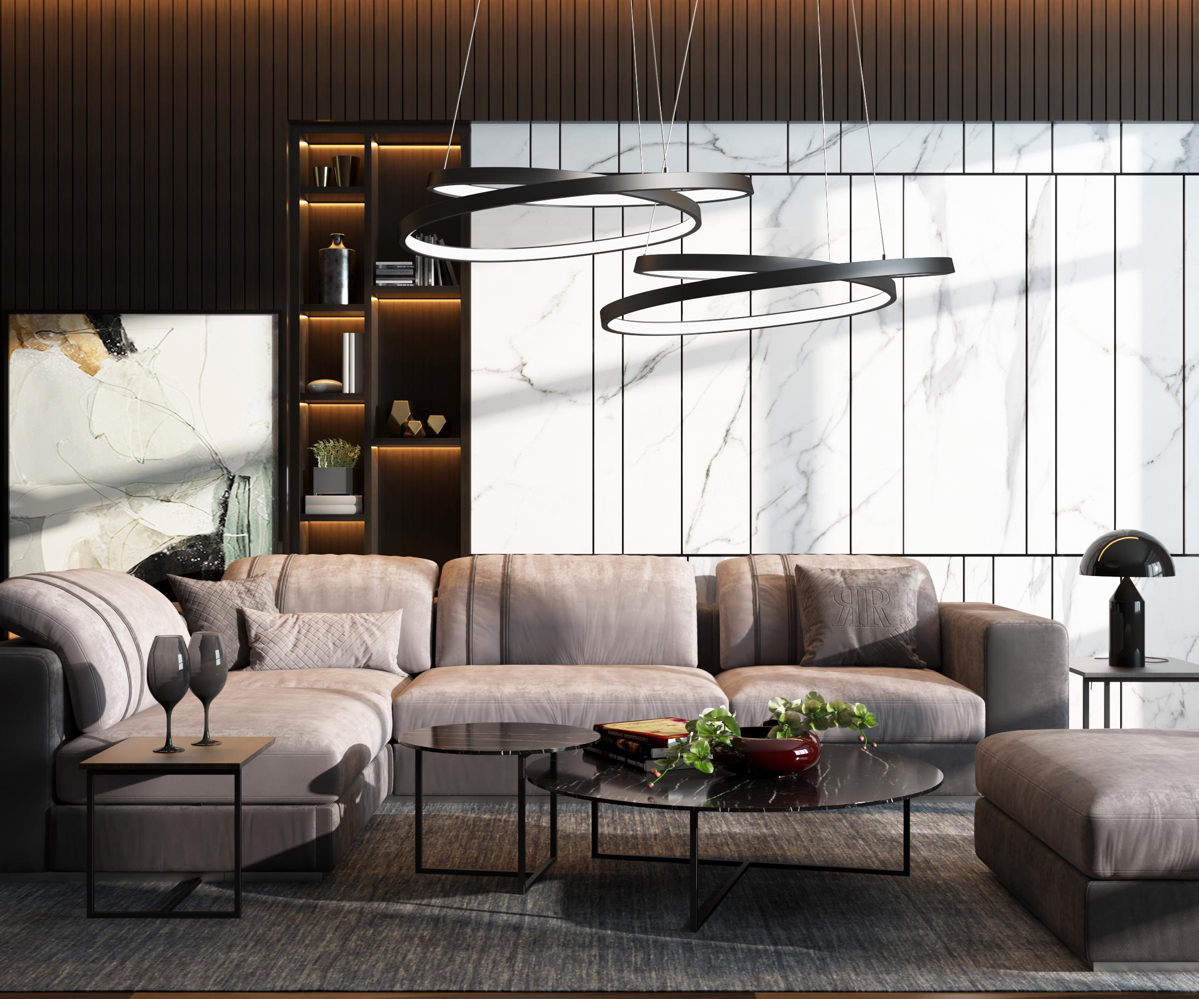 現代沙發裝飾畫吊燈組合