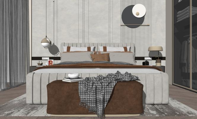 现代双人床 衣柜 床尾凳