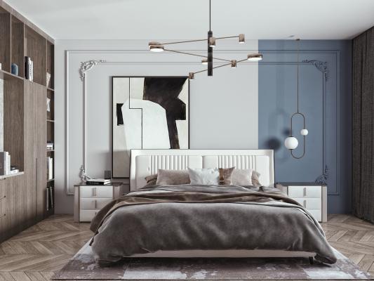 現代轻奢双人床组合 床头柜