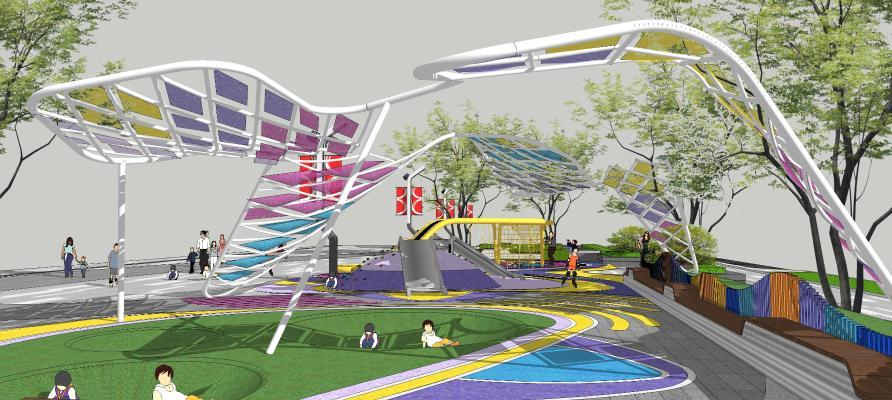 現代風格商業廣場景觀 兒童區異形廊架 兒童沙坑兒童樂園