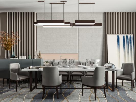 现代餐桌椅 吊灯 边柜