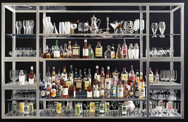 现代酒吧台酒瓶酒架组合