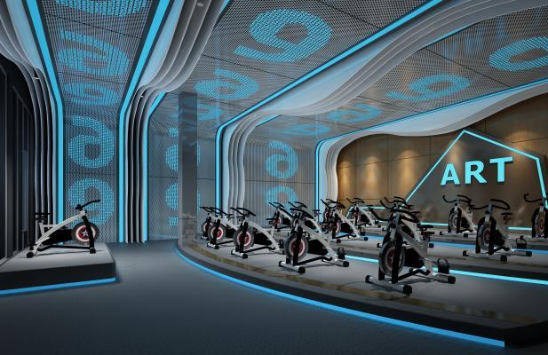 现代健身房 动感单车室