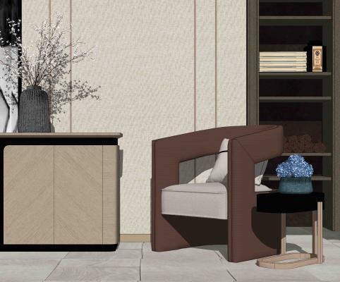 新中式单人沙发 玄关柜 摆件组合