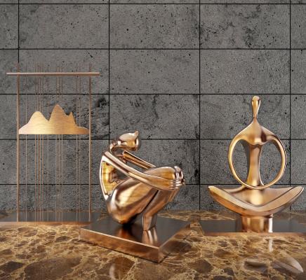现代艺术金属人物雕塑 摆件组合