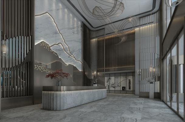 新中式大厅 前台 接待