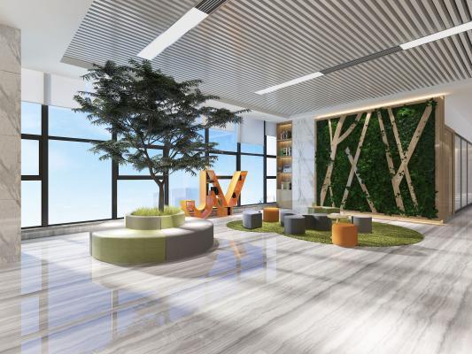 現代風格休息區 綠植墻 異型沙發