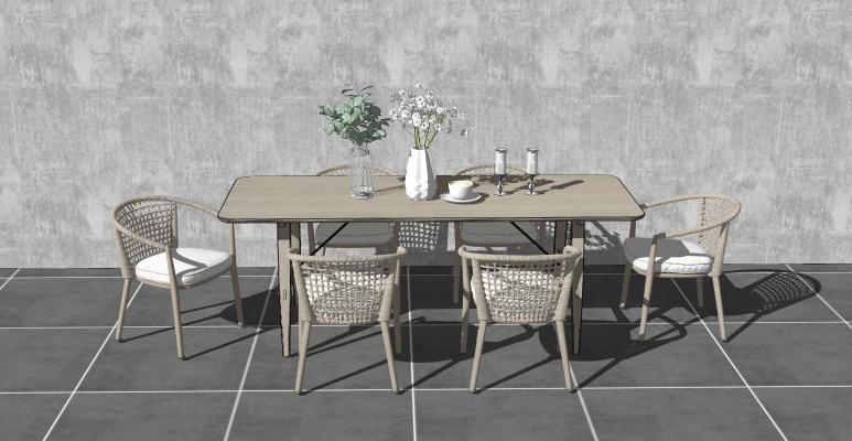 北欧户外休闲桌椅 餐桌椅组合 藤椅