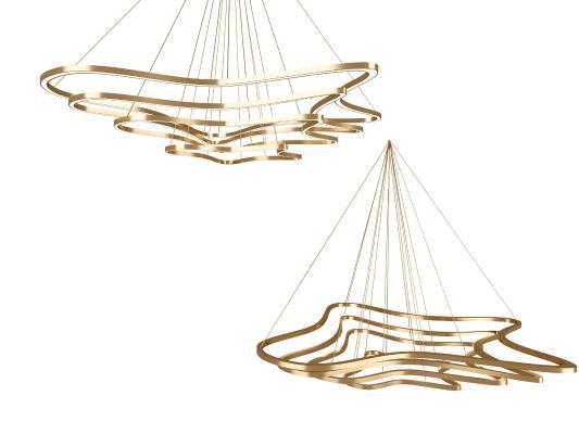 现代线条吊灯组合