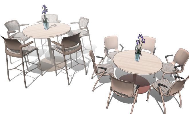 现代圆餐桌椅组合