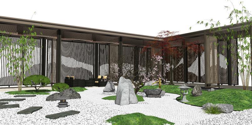 新中式庭院景观 景观小品 禅意庭院