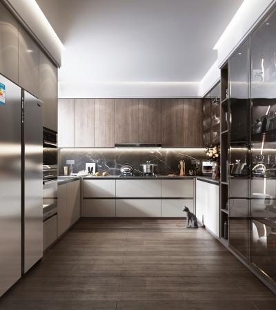 現代風格廚房 櫥柜 冰箱 油煙機 灶具
