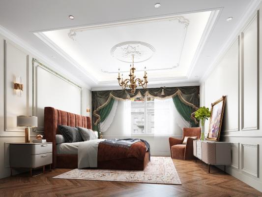 法式卧室 吊灯 壁灯