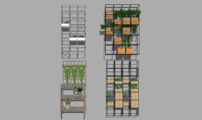 现代绿植墙 花架