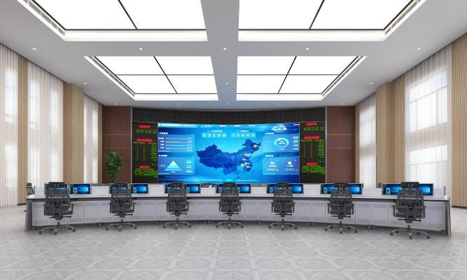 现代风格监控室 指挥大厅