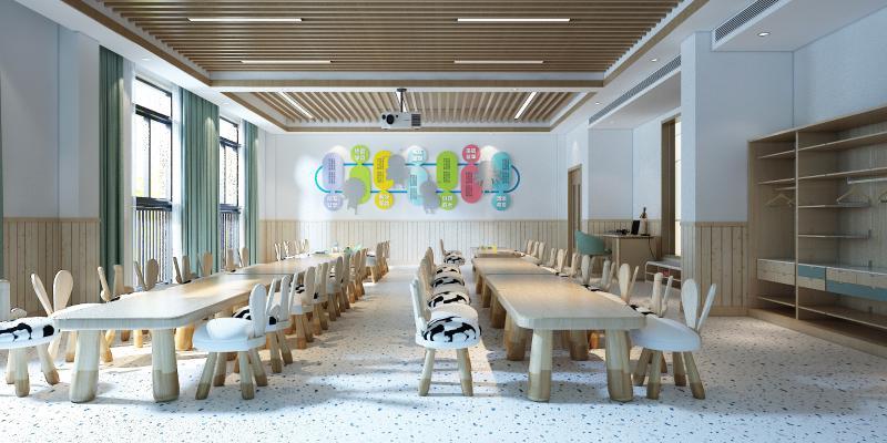 现代幼儿园教室 投影仪 桌椅
