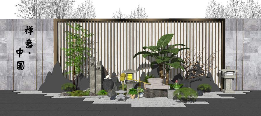 新中式景观小品 庭院景观 景墙 跌水景观 片石假山 枯山水 栓马柱 植物盆栽