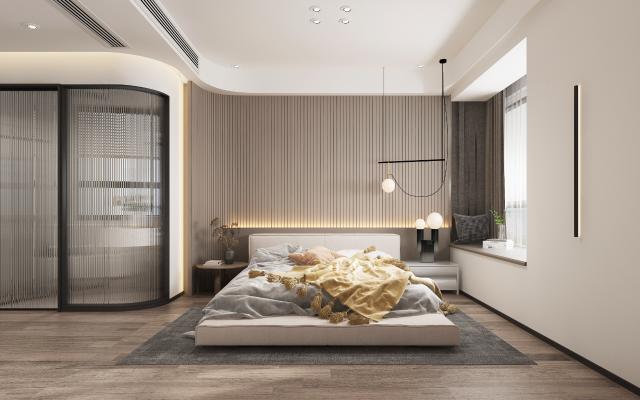 现代主卧室 吊灯 双人床