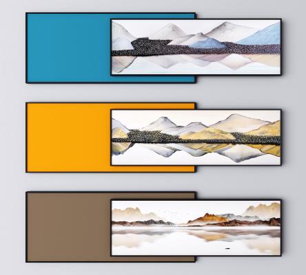 新中式装饰画 抽象山水画 风景画