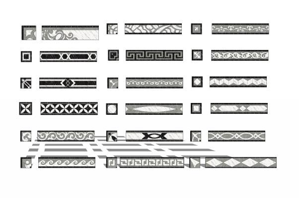 现代地砖石材拼花波导线腰线组合