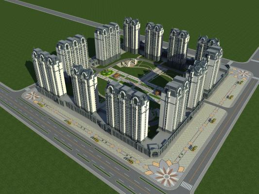 欧式住宅鸟瞰规划